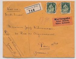 113z /107z Auf Deklariertem Wertbrief Gelaufen Ab GOSSAU St. Gallen Nach PARIS Frankreich - Suisse