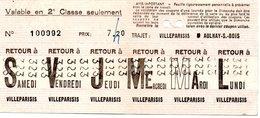 / Coupon Hebdomadaire , Trajet Villeparisis / Aulnay Sous Bois - Season Ticket