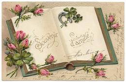 Souvenir D'amitie - En Relief Livre, Trèfles, Fer à Cheval, Roses - 1906 - Embossed Book,clovers, Horseshoe & Roses - Fancy Cards
