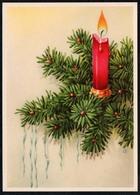 C2149 - TOP Glückwunschkarte - Weihnachten Kerze Tannenzweig - Reichenbach - DDR Grafik - Natale