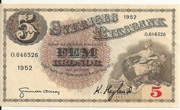 SUEDE 5 KRONOR 1952 AUNC P 33 Ai - Suède