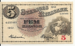 SUEDE 5 KRONOR 1952 VF P 33 Ai - Suède