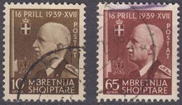 ALBANIA - 1942 - Lotto Di Due Valori Usati: Yvert  274 E 277. - Albania