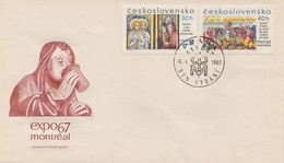 RELIGION CHURCH HISTORY GOTHIC ART IENA CODEX Czechoslovakia Tschechoslowakei 1967 FDC MI 1694 1695 EXPO MONTREAL - Christianity