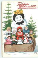 N°7636 - Carte Fantaisie - Fröhliche Weichnachten - Bonhomme De Neige Et Etal De Poupées - Oilette - Christmas