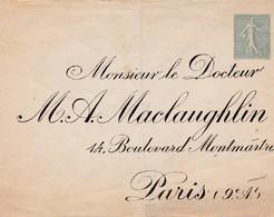 Entier Enveloppe Repiqage Docteur M A Maclaughlin Sur Semeuse 15 C - Postal Stamped Stationery