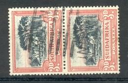 Paire Verticale Timbres Type Groote Schuur 3p Rouge Et Noir - Bilingue - Usati
