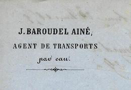 1839 PORT DE SAINT JEAN DE LOSNE (DE LONE) J.BAROUDEL TRANSPORT PAR EAU Pour Houillères D'Epinac (Saône Et Loire) - Frankrijk