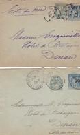 Lot De 2 Enveloppes Entier Type Sage15c Taxe Reduite A 0.10 F Complement D'affranchissement Avec Type  Blanc 5c - Postal Stamped Stationery