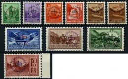 DIENSTMARKEN D 11-19a,b **, 1934, Freimarken, 25 Rp. Beide Aufdruckfarben, 10 Prachtwerte, Mi. 380.- - Official