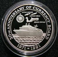 Cayman Island $ 5 1991 Ship 20 Anniv. Silver Proof - Cayman Islands