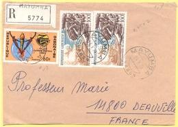 GABON - 1976 - 60F 1ers Jeux D'Afrique Centrale + 2 X 100F Bicentenaire Des Etas-Unis D'Amerique - Registered - Big Frag - Gabon (1960-...)