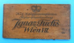 IGNAZ FUCHS - WIEN VII. ( K.u.K. Hofpapiervarenfabriken ) ... Part Of An Old Wooden Casket * Austria-Hungary Osterreich - Boxes