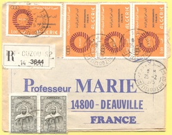 ALGERIA - ALGERIE - 1975 - 4 X 1,00 Jeux Mediterraneens D'Alger + 2 X 0,10 - Registered - Viaggiata Da Tizi Ouzou Per De - Algeria (1962-...)