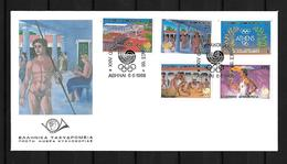 1988 Joint Greece And South Korea, OFFICIAL FDC GREECE 5 STAMPS: Olympic Games Seoul - Emisiones Comunes