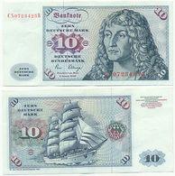 BRD 1980, 10 DM Deutsche Mark, Dürer, Schiff Gorch Fock, Geldschein Banknote - 10 Deutsche Mark