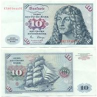 BRD 1980, 10 DM Deutsche Mark, Dürer, Schiff Gorch Fock, Geldschein Banknote - [ 7] 1949-… : FRG - Fed. Rep. Of Germany