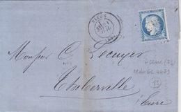 Lettre De Dieue (Dateur T18) Du 21 Juil 1875 Pour Thiberville PC Du GC 4479 Sur 20c Bleu (N° 60c) - Marcophilie (Lettres)
