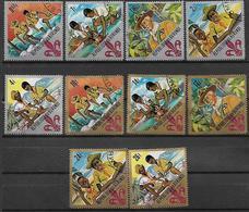 BURUNDI 1967 60° ANNIVERSARIO DEGLI SCOUT YVERT. 238-242+POSTA AEREA 57-61 USATA - Burundi