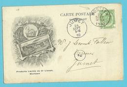 "83 Op Geillustreerde Kaart ""Produits Lactésdu Dr Licops"" Stempel MONTZEN - 1893-1907 Wappen"