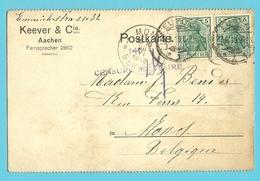 Duitse Zegel Op Kaart Stempel EUPEN Op 22/6/19 Naar MONS, Stempel CENSURE MILITAIRE 146 (in 1919!!) (Oostkantons) - Guerre 14-18