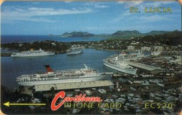 Saint Lucia - GPT, STL-7B, 7CSLB, Cruiseship Harbour (Without Logo), Ships, 20$, 30,000ex, 1992, Used - St. Lucia
