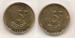 5 Frank 1989 Frans+vlaams * Uit Muntenset * FDC - 05. 5 Francs