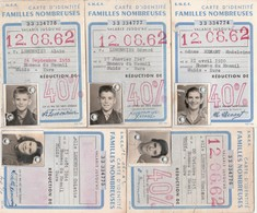 Ensemble De 5 Cartes D'identité SNCF De Familles Nombreuses, Issues D'une Seule Famille ROUEN - MUIDS EURE - Abonnements Hebdomadaires & Mensuels