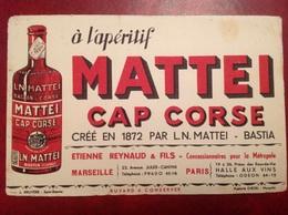 Buvard Publicité Apéritif Mattei Cap Corse Bastia Marseille Paris - Alimentare