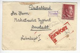 POLSKA GENERALGOUVERNEMENT AMBULANT BAHNPOST LUBLIN - ? + PIOTROWICE + CENSURE CENSOR POUR ARNSTADT /FREE SHIPPING R - 1939-44: 2ème Guerre Mondiale