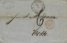 1859- Lettre De LUBECK Allemagne ) Pour Cette ( Sête ) Hérault  Taxe 6 D Entrée 2 TOUR.T  2/ VALENCIENNES Rouge - Postmark Collection (Covers)
