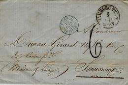 1858- Lettre De HAMBURG ( Allemagne ) Pour Saumur ( Maine Et Loire)  Taxe 6 D Entrée 2 TOUR.T  2/ VALENCIENNES  Bleu - Postmark Collection (Covers)