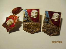 RUSSIA USSR , LENIN COMMUNIST , PIONEER , RED CROSS DONOR PIN BADGES  ,0 - Administración