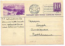 "163 - 76 - Entier Postal Avec Illustration ""Montana-Vermala"" Oblit Mécanique 1938 - Stamped Stationery"
