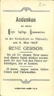 """Faire-part De COMMUNION De MALMEDY 06 Mai 1937 """" René GERSON  """" - Communion"""