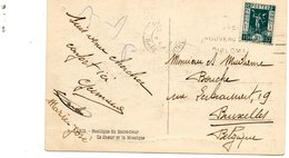 Timbre YT 323 Sur Carte CP. Exposition 1937 30c Vert Pour La Belgique. - Postmark Collection (Covers)