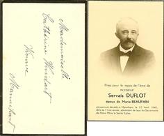 """Faire-part De Décès De Manaihant ( HERVE ) 1941  """" Servais DUFLOT """" Avec Enveloppe D'origine . - Obituary Notices"""