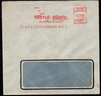 CHOCOLAT - CACAO - COCOA - NESTLE - KOHLER / 1953 FRANCE EMA SUR ENVELOPPE COMMERCIALE (ref LE3114) - Alimentación