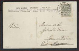 Postkaart Met Afstempeling AMBULANT ADINKERKE - GAND  ;  Staat Zie 2 Scans ! Inzet 1 Euro ! - 1893-1907 Coat Of Arms