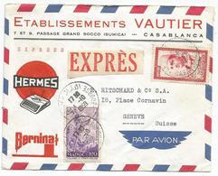 MAROC 100FR+50FR LETTRE ENTETE MACHINE A ECRIRE EXPRES AVION CASABLANCA 1.10.1959 POUR SUISSE + VERSO CACHET HORLOGE - Marokko (1956-...)