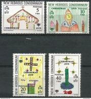 New Hebrides  - 1979 Christmas Set Of 4 MNH **   Sc 272-5 - English Legend