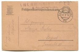 AUSTRIA HUNGARY WW1 - K.u.K. FELDPOST TABORI POSTA Seal 71, TRAVELED TO ZAGREB CROATIA, 1916. - WW1