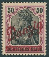 FREIE STADT DANZIG 39 *, 1920, 50 Pf. Kleiner Innendienst, Falzrest, Pracht, Gepr. Gruber, Mi. 200.- - Danzig