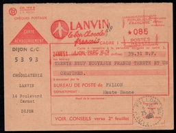 CHOCOLAT - CACAO - COCOA - LANVIN / 1961 FRANCE EMA  PUBLICITAIRE ILLUSTREE SUR CARTE CONTRE REMBT (ref LE3124) - Alimentación