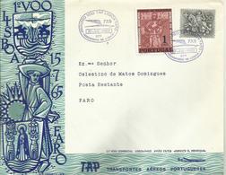 PORTUGAL, SOBRE PRIMER VUELO LISBOA/FARO - 1910-... República