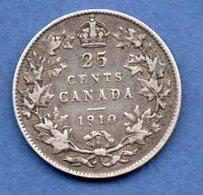 Canada -  25 Cents 1910   -  Km #  11 A--  état TB+ - Canada
