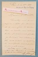 L.A.S 1884 Alexandre CABANEL Célèbre Peintre Né à Montpellier à Un Ministre - Lettre Autographe LAS Rue De Vigny - Autographes