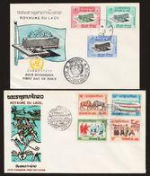 Laos 1965 + 1966  2 X FDC 23.12.1965 + 3.5.1966 - Laos