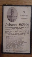 Sterbebild Wk1 Ww1 Bidprentje Avis Décès Deathcard KUK IR14 MERAN SÜDTIROL 17. April 1917 Aus Hamet Nr. 10 Pfarrkirchen - 1914-18