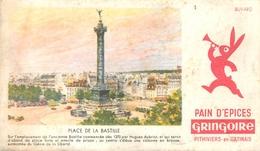 Buvard Ancien PAIN D EPICES GRINGOIRE - IMAGE PLACE DE LA BASTILLE - PITHIVIERS EN GATINAIS - Pain D'épices